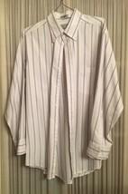Men Van Heusen Long Sleeve White Shirt Button Front Blue Red Stripe 16.5... - $6.16