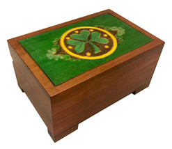 Celtic Shamrock Chest Box Polish Handmade Wood Celtic Lucky Charm Keepsake  - $32.66
