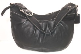 Coach # F13731 Soft Black Leather Hobo Purse  ~ Silver Hardware - £28.67 GBP
