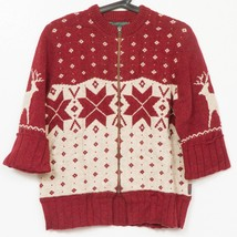 Woolrich Sweater M Womens Full Zip Dark Ruby 3/4 Sleeves Cardigan Cotton... - $15.75