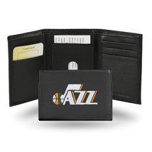 Utah Jazz Wallet Official NBA RICO Embroidered Trifold Leather Black - $33.45