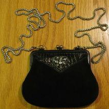 Brighton Mini CrossBody KissLock Purse Wallet Black Suede Croc Leather S... - $49.88