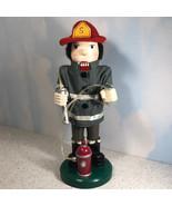 CHRISTMAS NUTCRACKER WOOD STATUE Fire fighter fireman firemen hydrant ho... - $59.35