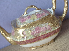 Antique 1890's LS & S Limoges France Pink yellow red gold white porcelai... - $167.31