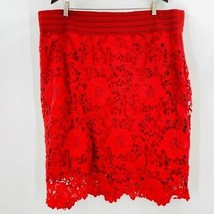 Simply Emma Womens Pencil Skirt Red Floral Lace Lined Elastic Waist Plus 3X - $15.83