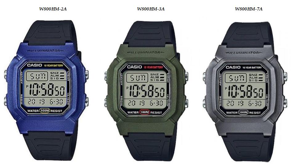 Casio Men's Sport Watch W-800HM-2A, W-800HM-3A & W-800HM-7A - $21.78 - $22.28