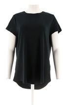 Isaac Mizrahi Pima Cotton Crew Neckline Curved Hem T-Shirt Black L NEW A... - $22.75