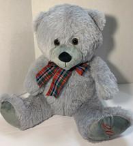 """Hug & Luv Gray Teddy Bear Plaid Ribbon 2020 Plush 13""""Stuffed Animal Soft... - $16.65"""