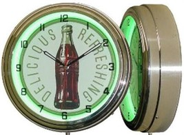 "15"" Green Neon Coke Coca Cola Delicious Refreshing Soda Bottle Wall Cloc... - $83.95"
