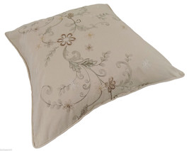 """WONDER EMBROIDERED BEIGE COFFEE INTRICATE COTTON BLEND CUSHION COVER 18""""... - $7.90"""