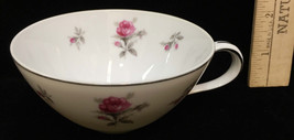 Tea Cup Rosechintz by Meito White w/ Pink Rose Porcelain Silver Trim - $8.90