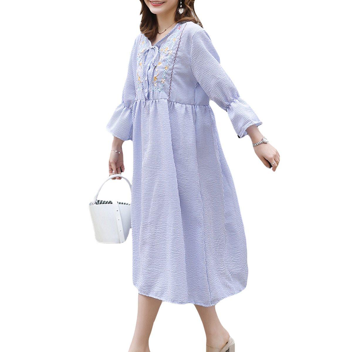 Maternity's Dress Fashion Long Sleeve Embroidery Pattern Loose Dress
