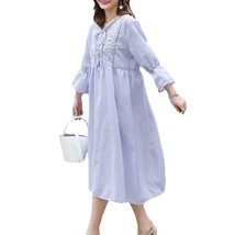 Maternity's Dress Fashion Long Sleeve Embroidery Pattern Loose Dress - $31.99