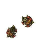 50s-60s Vintage Sparkling Topaz Peridot & Orange Rhinestone Leaf Design ... - $31.00