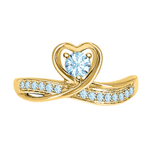 Round Cut Aquamarine 14k Yellow Gold Over 925 Silver Lovely Heart Promise Ring - $59.49