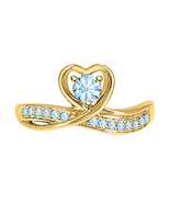 Round Cut Aquamarine 14k Yellow Gold Over 925 Silver Lovely Heart Promis... - $69.99