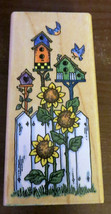 Birdhouses Fence Sunflowers Birds Rubber Stamp Stampendous 1997 Retired N048 - $7.42