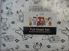 Berkshire Peanuts Snoopy Hop Skip Jump Black/White Sheet Set Full - $37.00