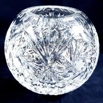 "VTG Cut Crystal round bowl ball vase pinwheel design 5"" tall - $84.15"
