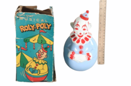 IOB Vintage Roly Poly Clown Toy Weeble Wobble Musical Creepy Scary Face BOX image 1
