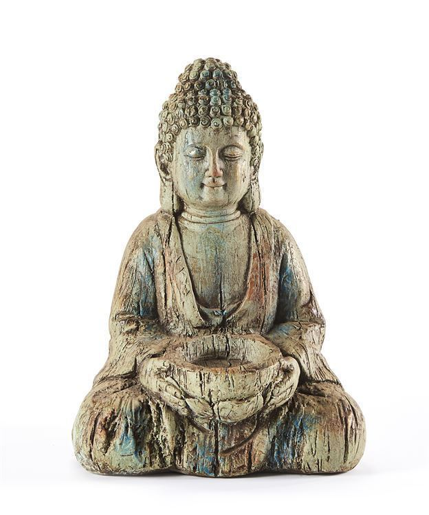 """16"""" Sitting Buddha Design Statue with Textural Detailing Weathered Gray Color"""