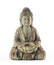 """Sitting Buddha Design Statue with Textural Detailing 16"""" Weathered Gray Color"""