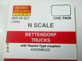 Micro-Trains Stock # 00304021 (1500) Bettendorf Trucks with Rapido Couplers (N)  image 3