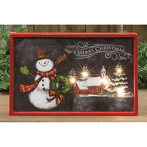 July SALE! Vintage Christmas Lighting Snowmen Lit Sign, 12.5x8.25 Led  - $45.54