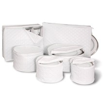 6 Piece Tabletop Quilted Vinyl Dinnerware Storage Set - $20.05