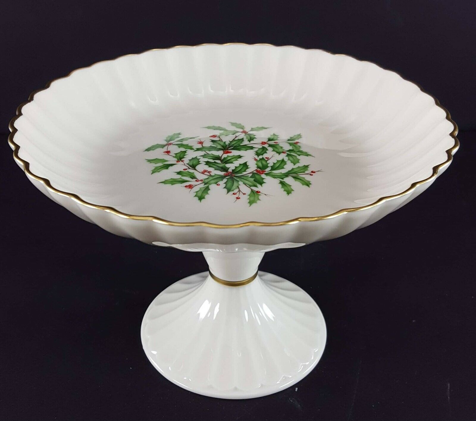 "LENOX China Holiday Dimension Round Compote Pedestal 5"" x 7-1/4"" Dinnerware"