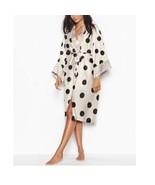 New Victoria's Secret Satin Kimono Long Robe Polka Dots Champagne/Black ... - $79.19