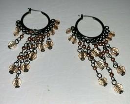 "Fashion Costume Jewelry Boho Hippie Dangle Drop 1"" Hoop Earrings Beads - $9.99"