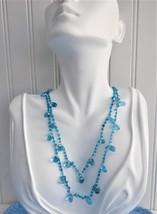 Blue Art Glass Necklace Crocheted OOAK Glacier Ice Blue Teardrops - $28.00