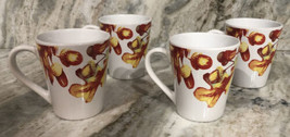 Set Of 4 Royal Norfolk Fall Leaves Stoneware 12 Oz Coffee Mugs CUPS-NEW-SHIPN24H - $39.58