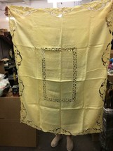 "Antique Yellow French Linen Tablecloth with Crochet 60""x46"" - $68.99"