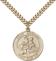 Saint Anthony of Padua 1 7/8 14kt Gold Filled Round Medal - $199.99