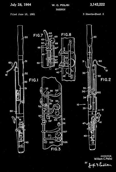 Primary image for 1964 - Bassoon - Musical Instrument - W. C. Polisi - Patent Art Poster