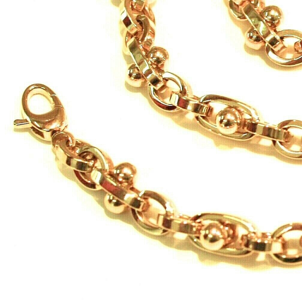 18K YELLOW GOLD BRACELET ALTERNATE OVALS 5 MM, SPHERES, 7.9 INCHES, ROUNDED