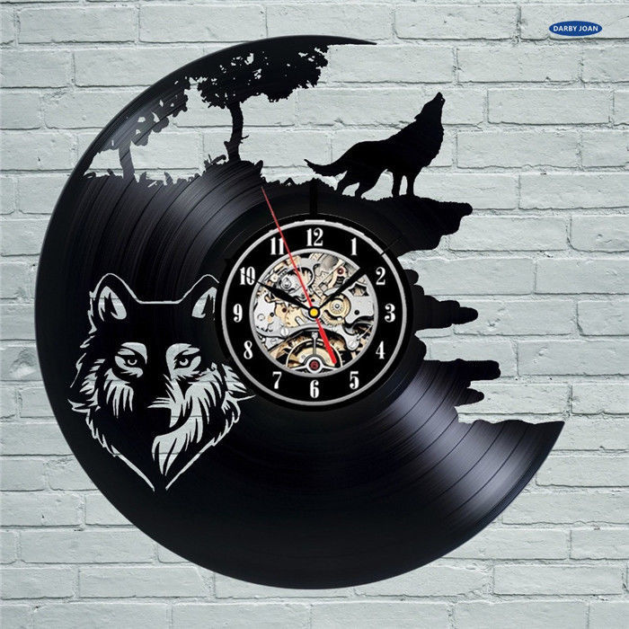Wolf Pictures Vinyl Record Wall Clock - Get unique bedroom or kitchen wall decor
