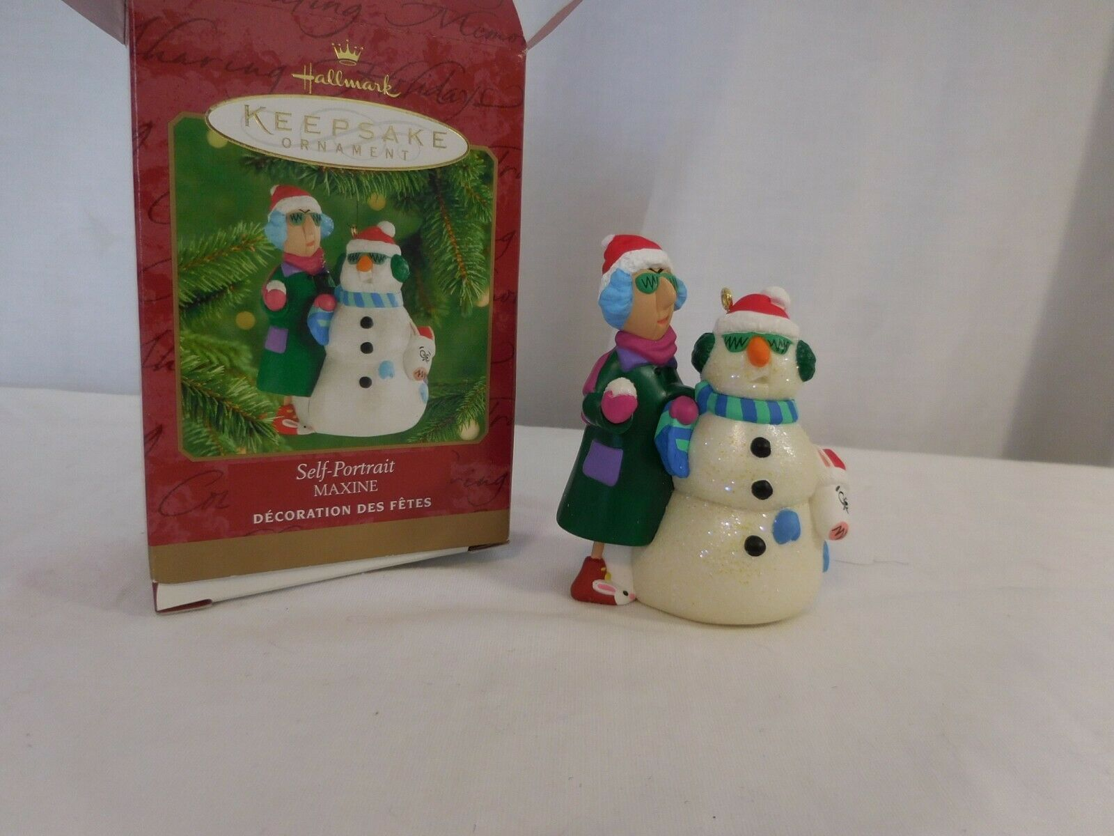 Primary image for Maxine Self Portrait 2000 Hallmark Ornament Dog Floyd Snowball Snowman Santa Hat