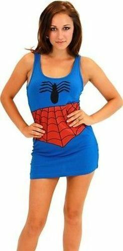 Primary image for Authentic Spiderman Marvel Comics Costume Woman Juniors Cosplay Tank Dress S-Xl
