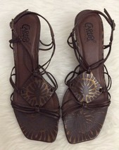 CARLOS BY CARLOS SANTANA BROWN MAMBO SZ 9LEATHER STRAPPY SANDALS - $14.84