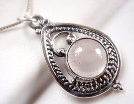 Rose Quartz Necklace 925 Sterling in Hoop with Silver Dot & Rope Styled Accents - $21.73