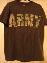 U.S. ARMY CAMO LETTERING MEN'S GRAY T-SHIRT NEW - $10.75