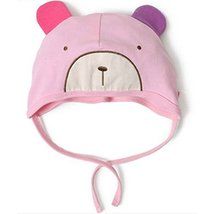 Baby Bear Hat Toddler Soft Hat Infant Cotton Hat 0-18Months (Pink)