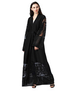 Women Embroidered Boho Long Sleeve Kimono Wrap Lace Maxi Dress Abaya -pld73 - $82.55 CAD