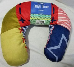 Travel Neck Support Pillow Multi Color Patchwork U Neck New New - $11.43