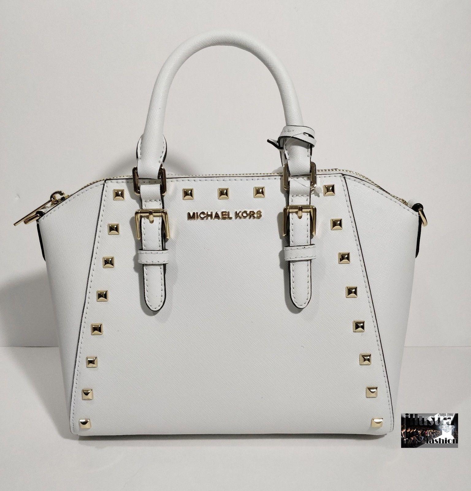 b5119e4ac92b NWT $328 Michael Kors Ciara White Saffiano Leather Studded Satchel Crossbody  Bag