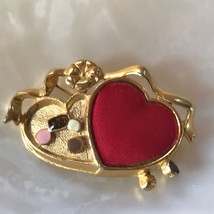 Vintage Danecraft Signed Valentine's Day Goldtone Double Heart with Fabric  - $10.39