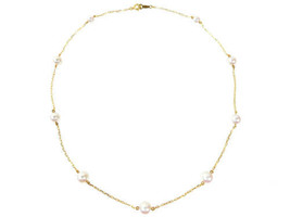 MIKIMOTO Authentic K18YG 4.5 to 6mm 9 Pieces Akoya Pearl Necklace Used J... - $820.81